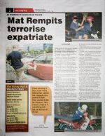 Page two, 'Hot News' - Mat Rempits Terrorise - ha!